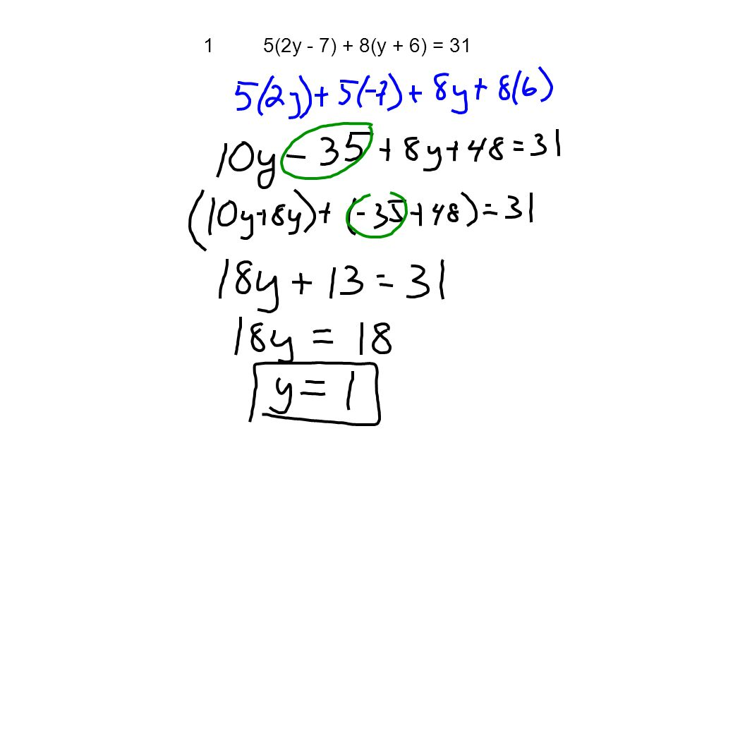 15(2y - 7) + 8(y + 6) = 31