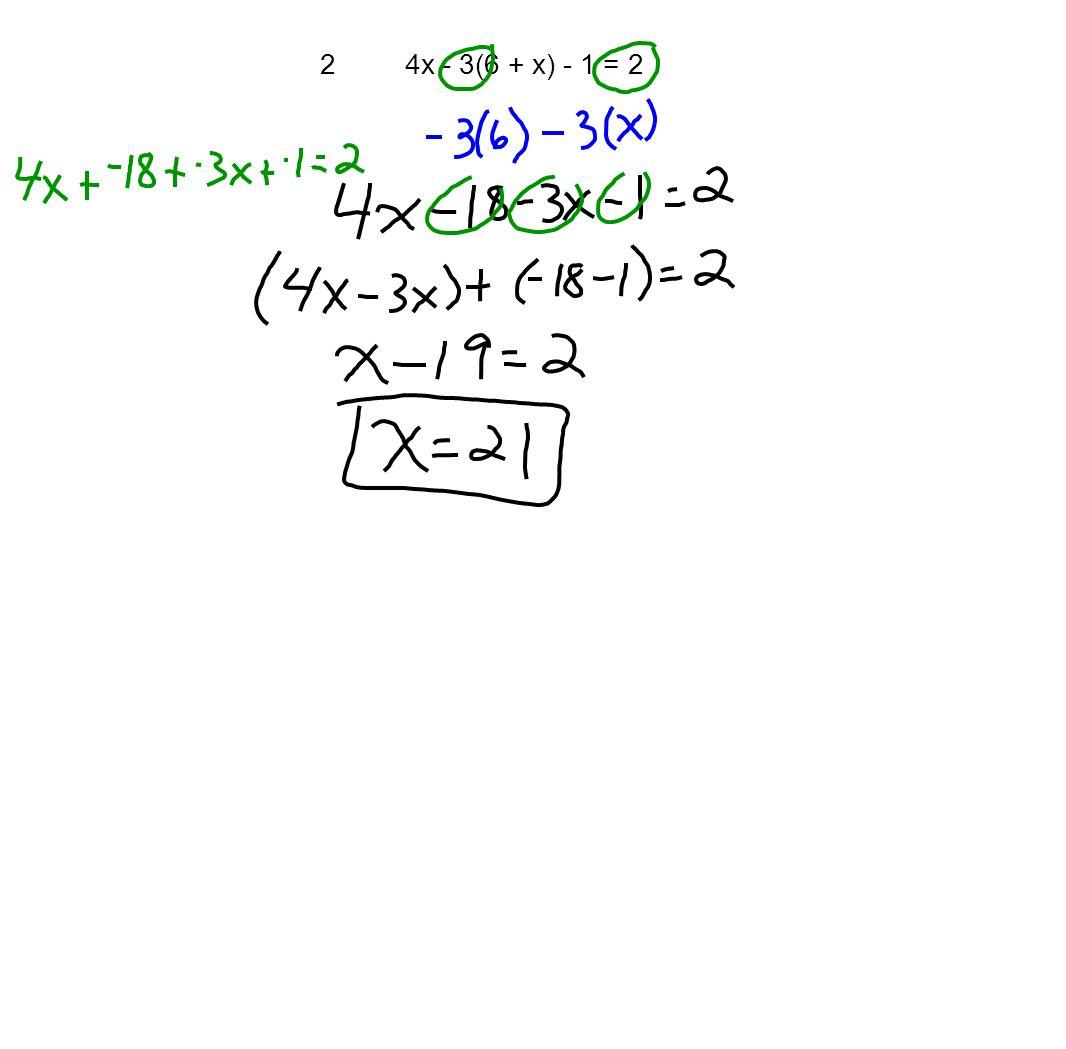 24x - 3(6 + x) - 1 = 2