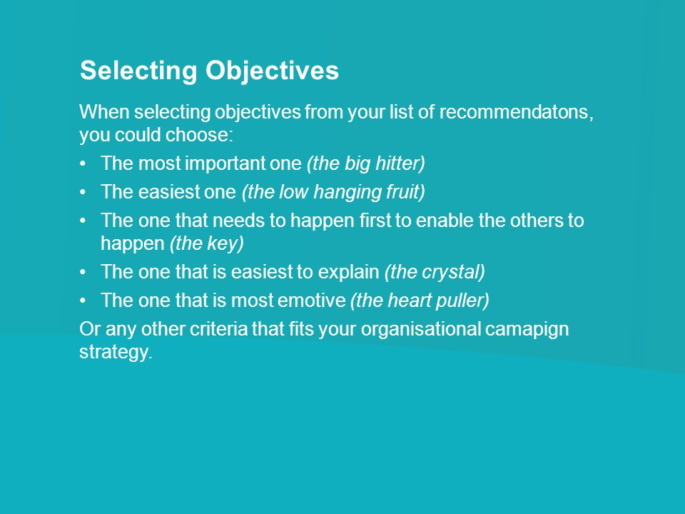 Selecting Objectives When selecting objectives from your list of recommendatons, you could choose: The most important one (the big hitter) The easiest one (the low hanging fruit) The one that needs to happen first to enable the others to happen (the key) The one that is easiest to explain (the crystal) The one that is most emotive (the heart puller) Or any other criteria that fits your organisational camapign strategy.