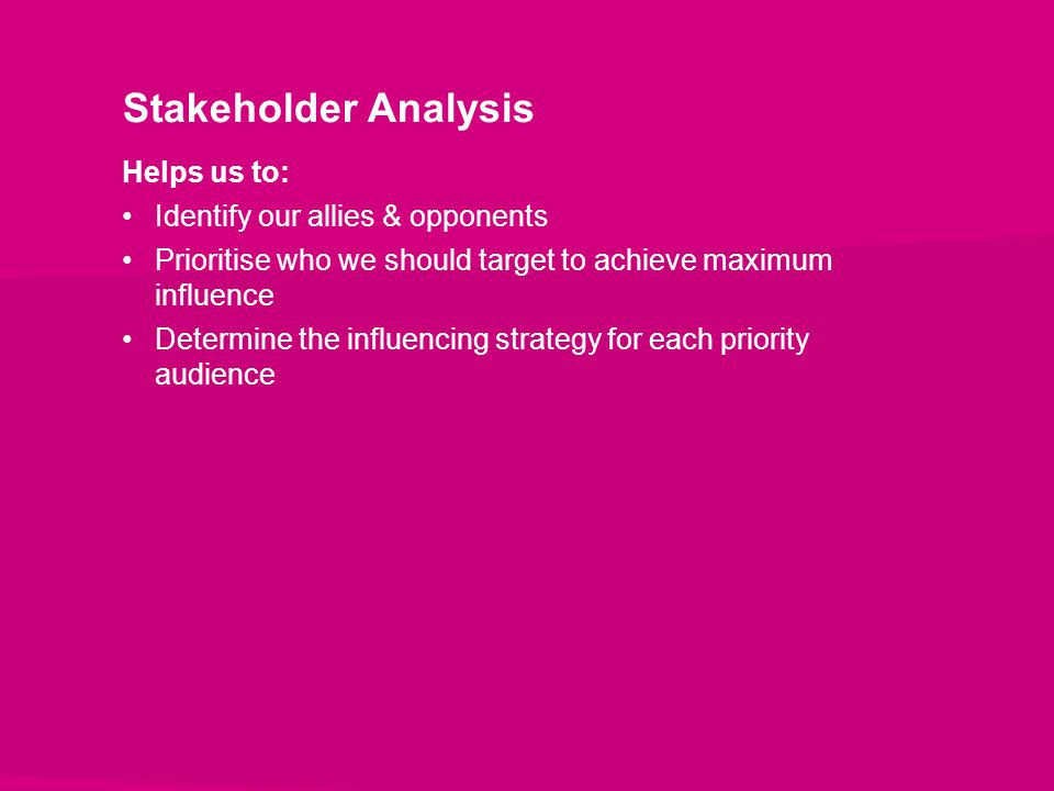 Stakeholder Analysis Helps us to: Identify our allies & opponents Prioritise who we should target to achieve maximum influence Determine the influenci