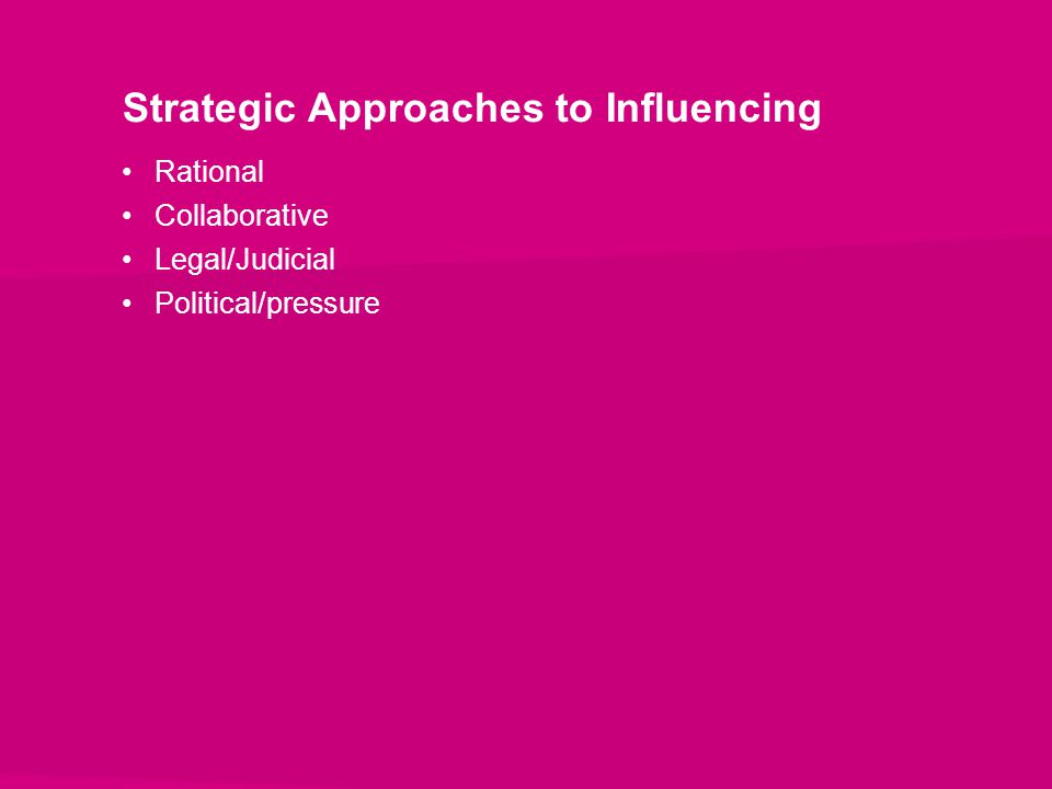 Strategic Approaches to Influencing Rational Collaborative Legal/Judicial Political/pressure