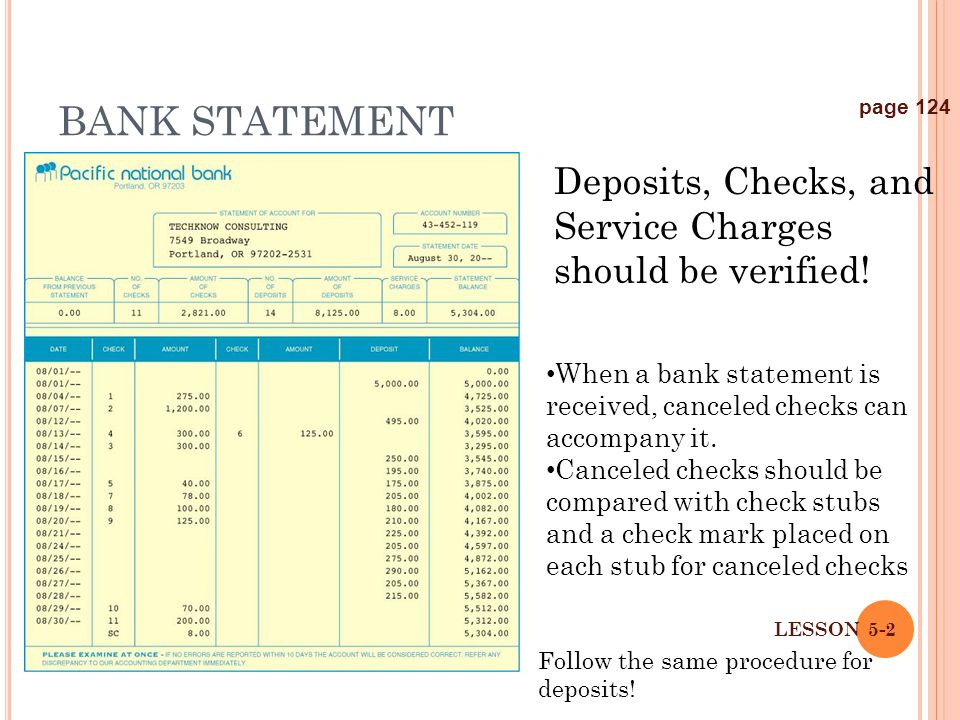 LESSON 5-2 BANK STATEMENT page 124 Deposits, Checks, and Service Charges should be verified! When a bank statement is received, canceled checks can ac