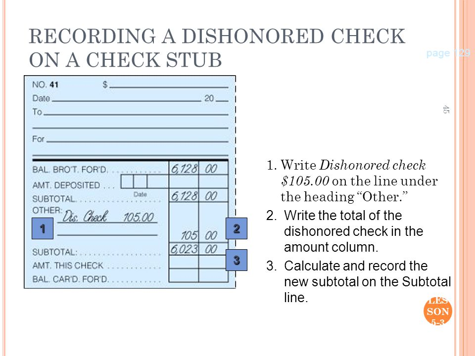 45 LES SON 5-3 RECORDING A DISHONORED CHECK ON A CHECK STUB 1.Write Dishonored check $105.00 on the line under the heading Other. page 129 12 3 2.Writ