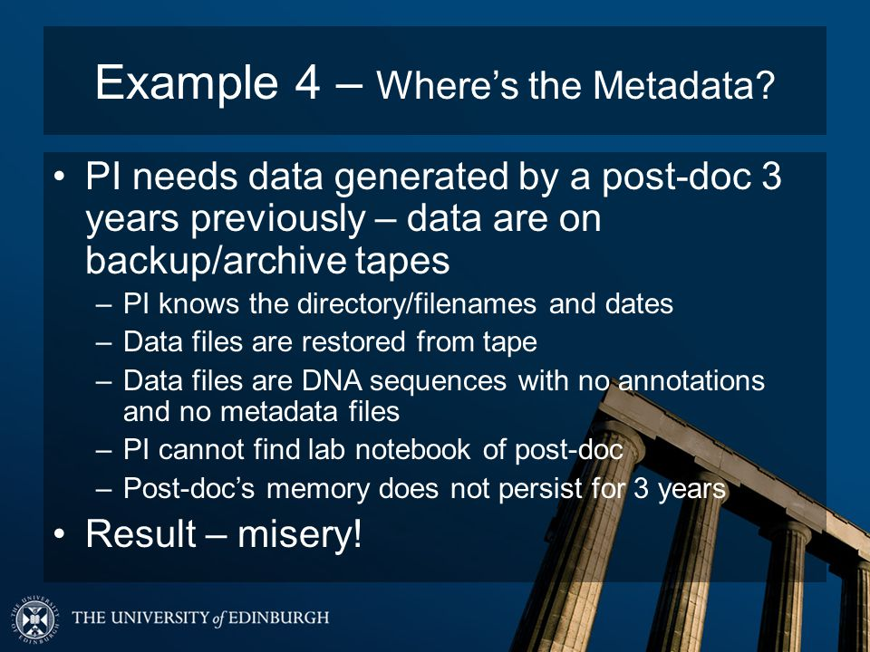 Example 4 – Wheres the Metadata.