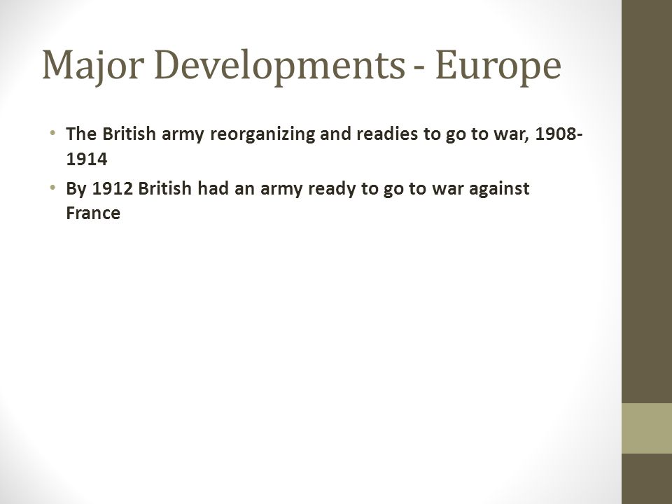 Major Developments - Europe The British army reorganizing and readies to go to war, 1908- 1914 By 1912 British had an army ready to go to war against