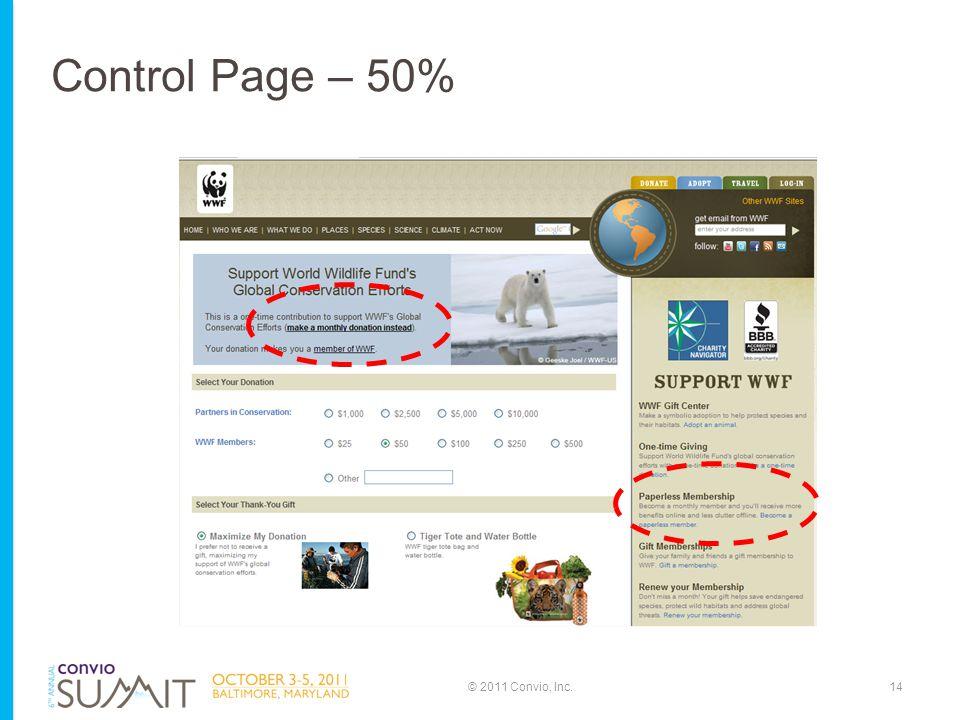 14© 2011 Convio, Inc. Control Page – 50%