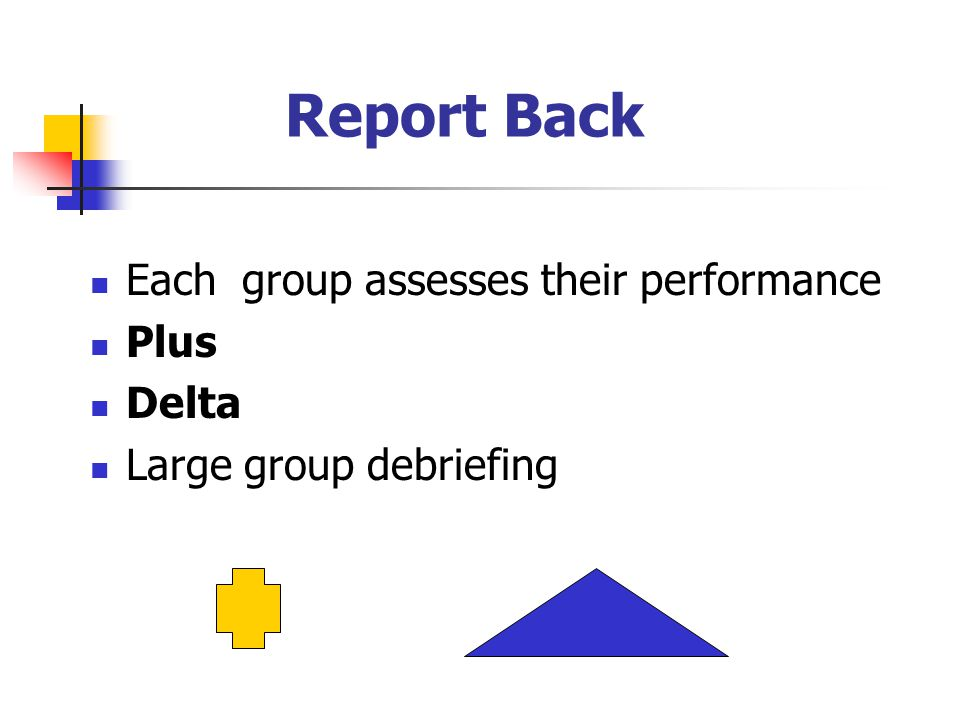 Report Back Each group assesses their performance Plus Delta Large group debriefing
