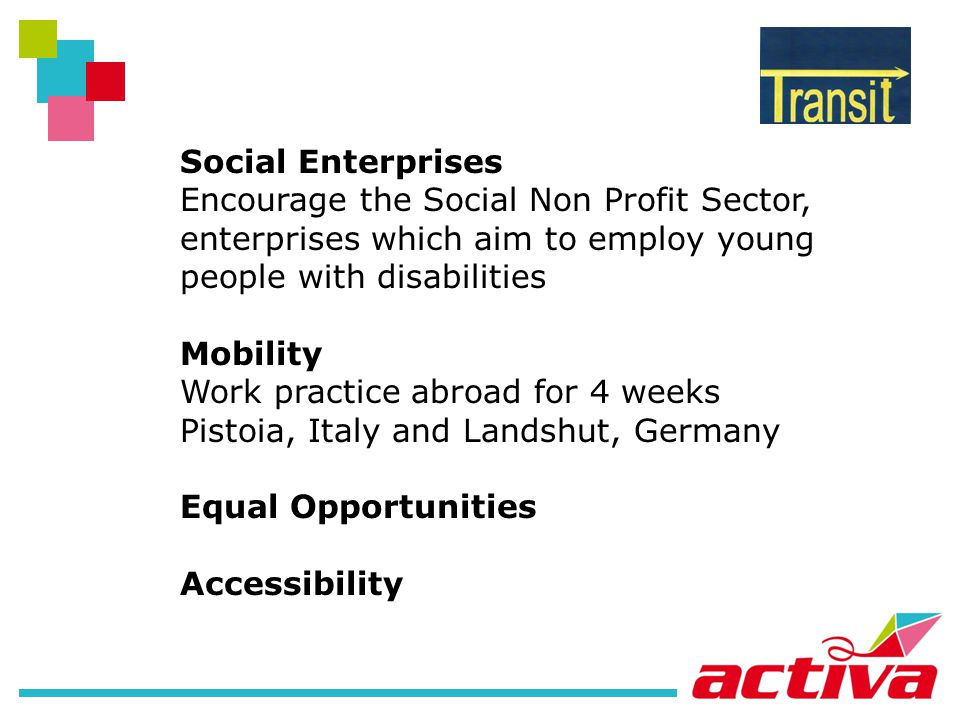 Social Enterprises Encourage the Social Non Profit Sector, enterprises which aim to employ young people with disabilities Mobility Work practice abroad for 4 weeks Pistoia, Italy and Landshut, Germany Equal Opportunities Accessibility