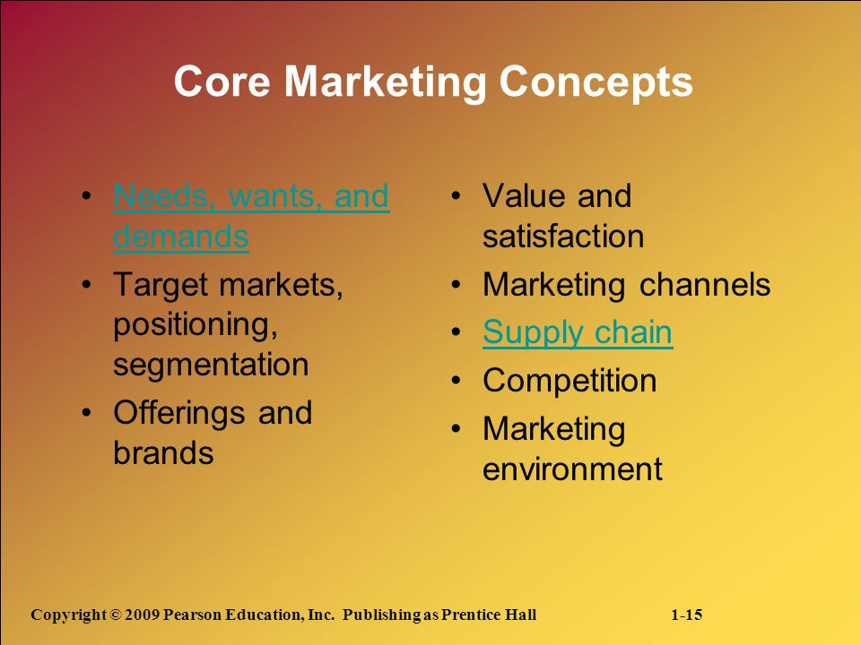 Copyright © 2009 Pearson Education, Inc. Publishing as Prentice Hall 1-15 Core Marketing Concepts Needs, wants, and demandsNeeds, wants, and demands T