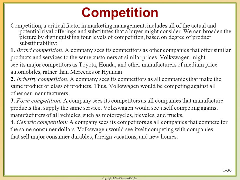 Copyright © 2003 Prentice-Hall, Inc. 1-30 Competition Competition, a critical factor in marketing management, includes all of the actual and potential