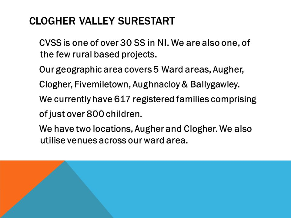 CLOGHER VALLEY SURESTART CVSS is one of over 30 SS in NI.
