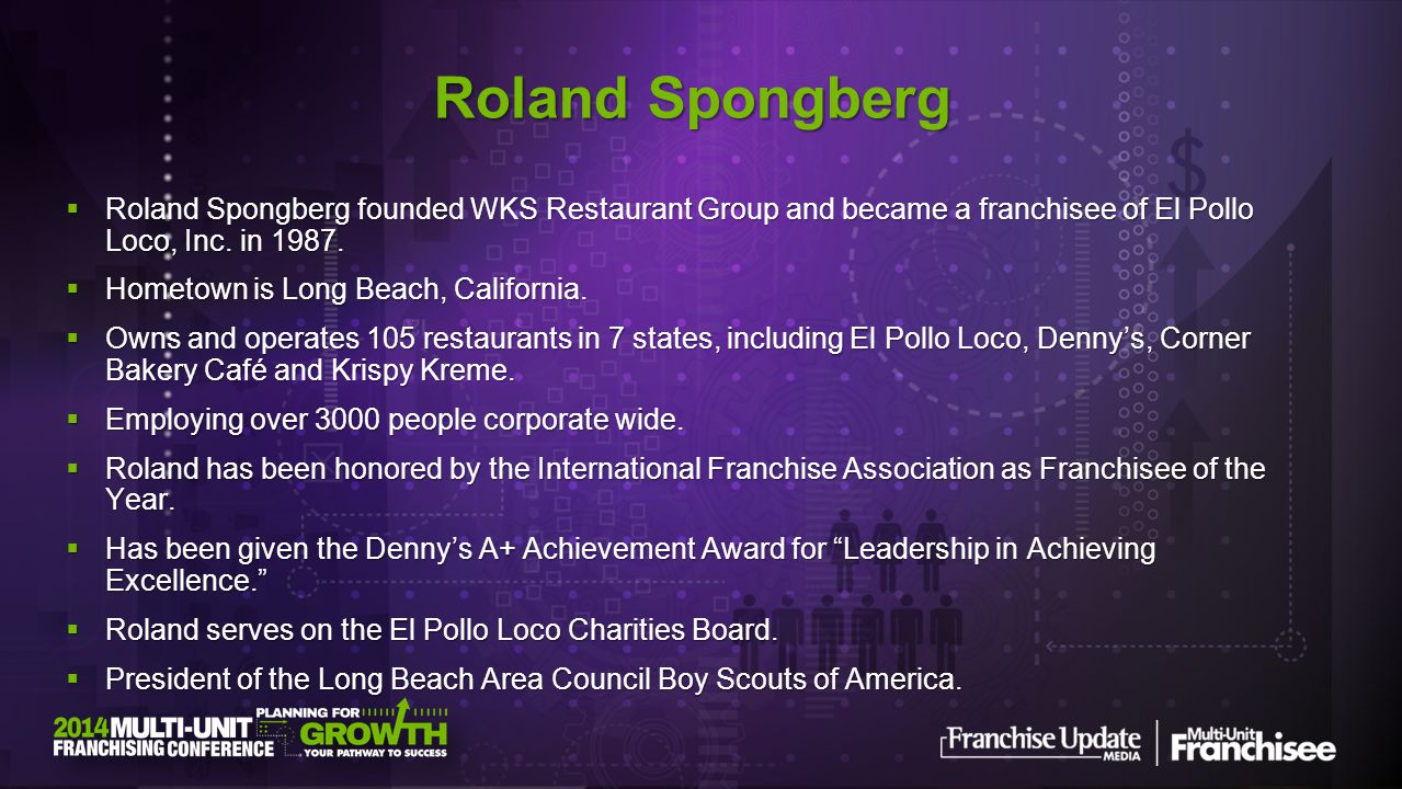 Roland Spongberg founded WKS Restaurant Group and became a franchisee of El Pollo Loco, Inc. in 1987. Roland Spongberg founded WKS Restaurant Group an