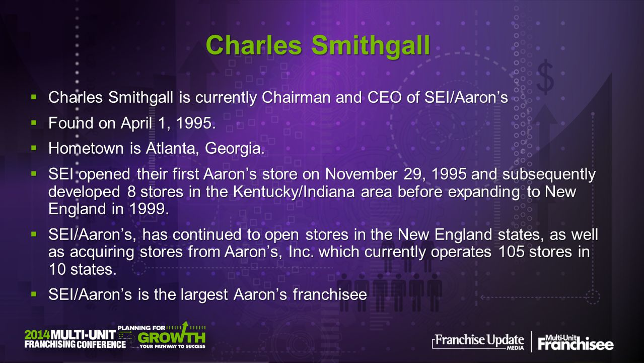 Charles Smithgall is currently Chairman and CEO of SEI/Aarons Charles Smithgall is currently Chairman and CEO of SEI/Aarons Found on April 1, 1995.