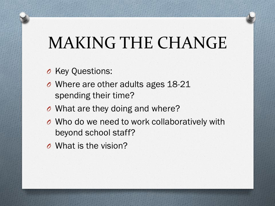 MAKING THE CHANGE O Key Questions: O Where are other adults ages 18-21 spending their time.