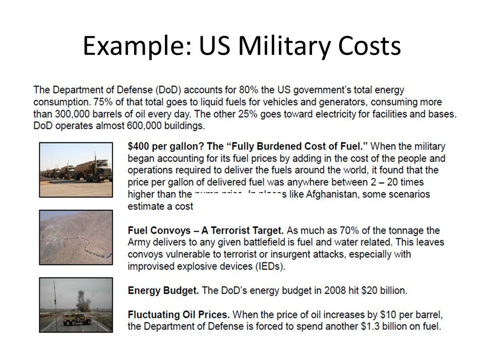 Example: US Military Costs
