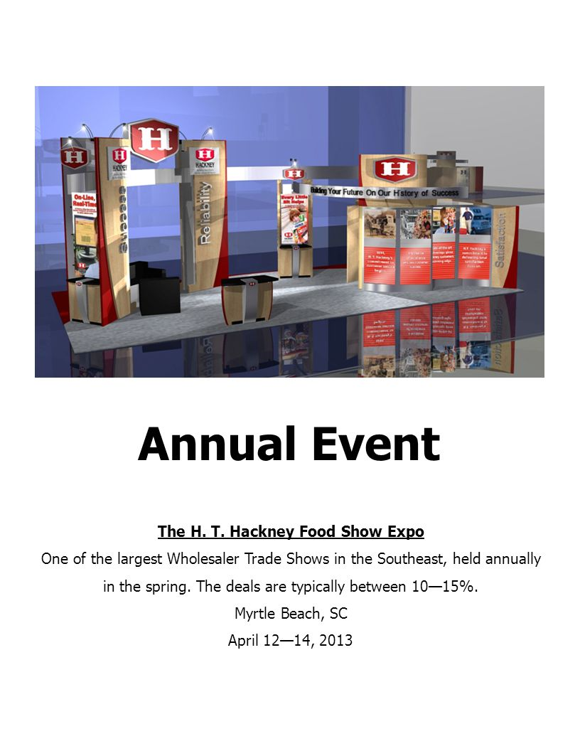 The H. T. Hackney Food Show Expo One of the largest Wholesaler Trade Shows in the Southeast, held annually in the spring. The deals are typically betw