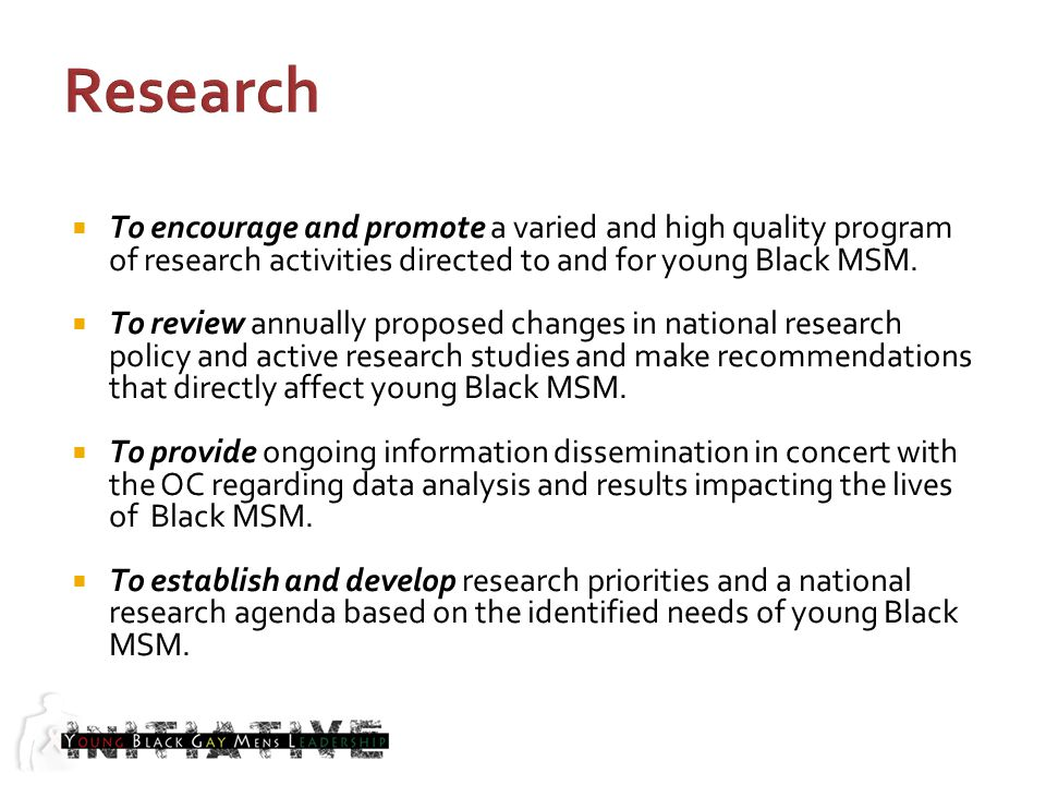 To encourage and promote a varied and high quality program of research activities directed to and for young Black MSM.