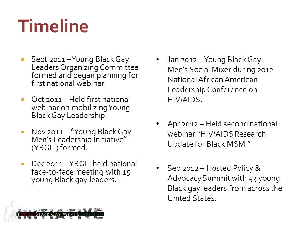 Sept 2011 – Young Black Gay Leaders Organizing Committee formed and began planning for first national webinar.