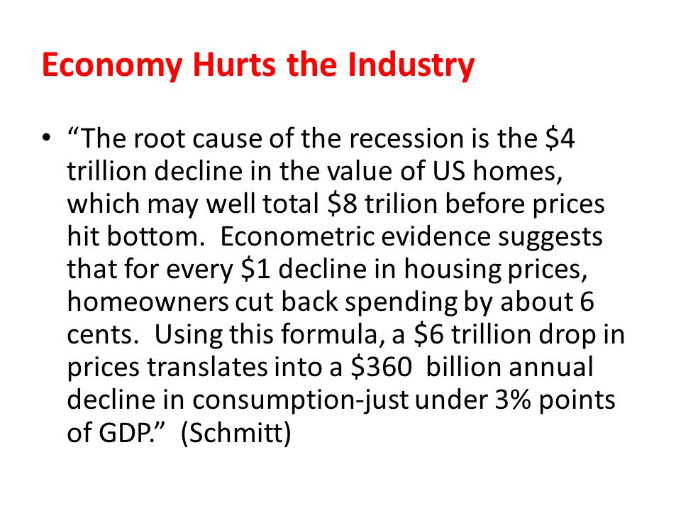 Economy Hurts the Industry The root cause of the recession is the $4 trillion decline in the value of US homes, which may well total $8 trilion before