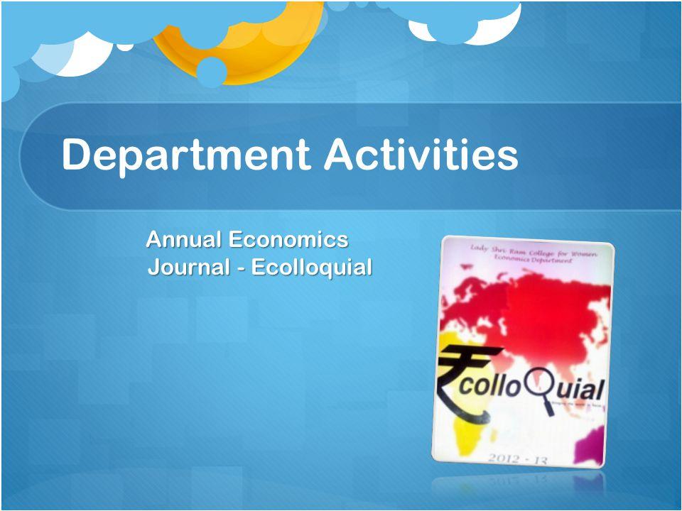 Department Activities Annual Economics Journal - Ecolloquial