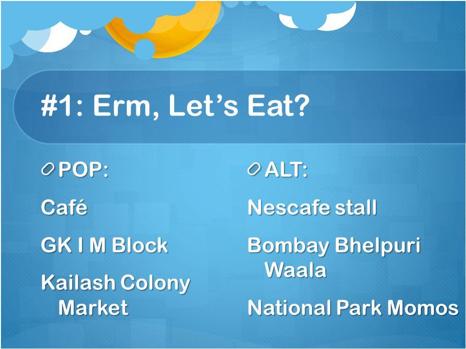 #1: Erm, Lets Eat? POP:Café GK I M Block Kailash Colony Market ALT: Nescafe stall Bombay Bhelpuri Waala National Park Momos