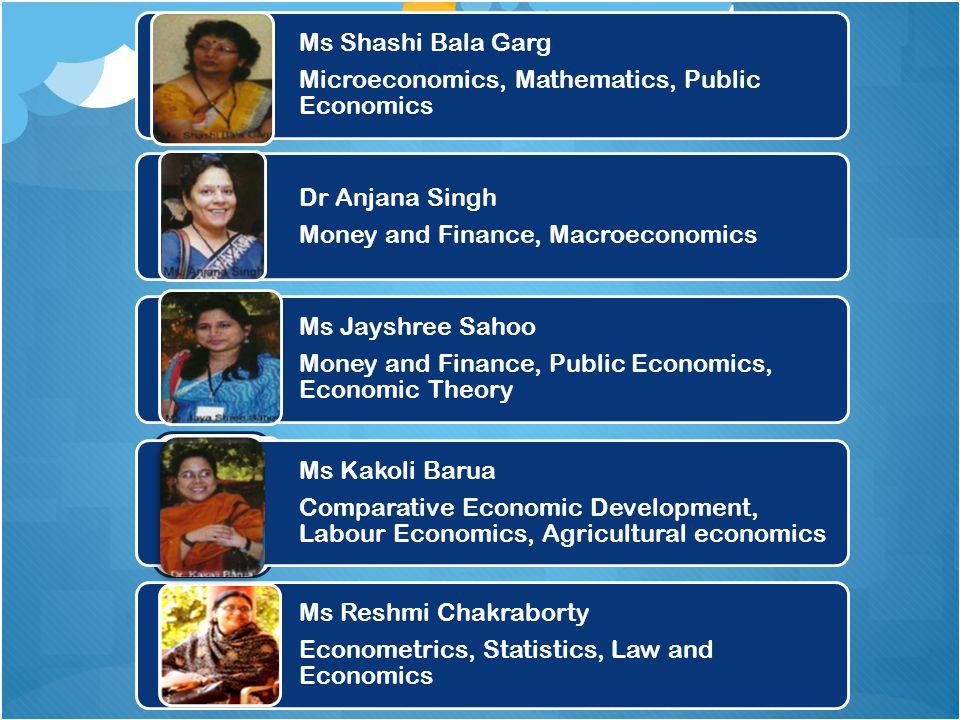 Ms Shashi Bala Garg Microeconomics, Mathematics, Public Economics Dr Anjana Singh Money and Finance, Macroeconomics Ms Jayshree Sahoo Money and Financ