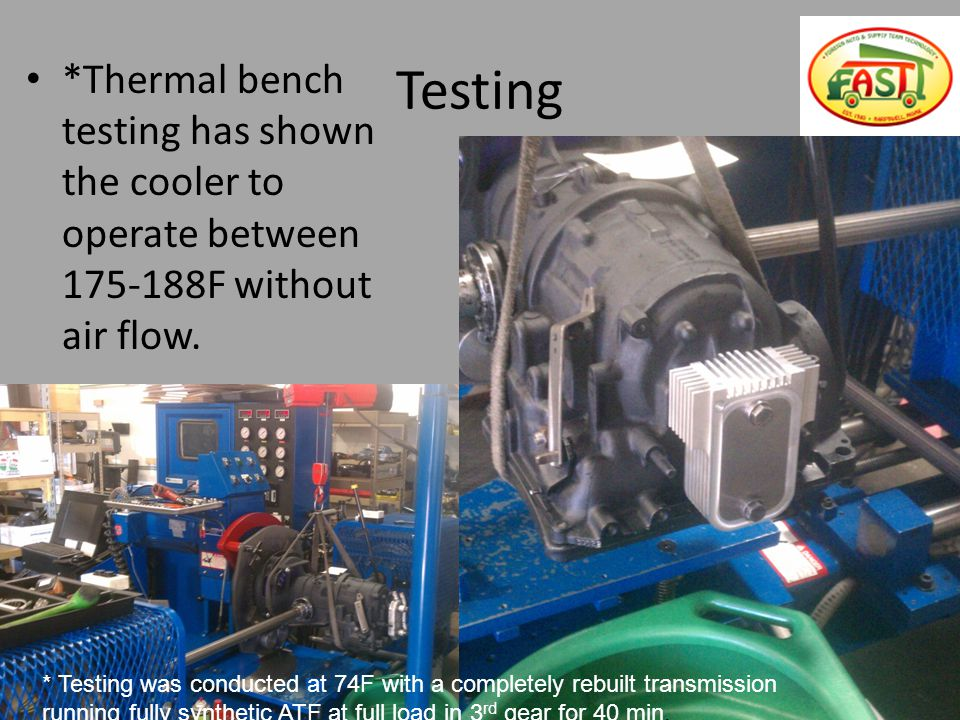 Testing *Thermal bench testing has shown the cooler to operate between 175-188F without air flow.