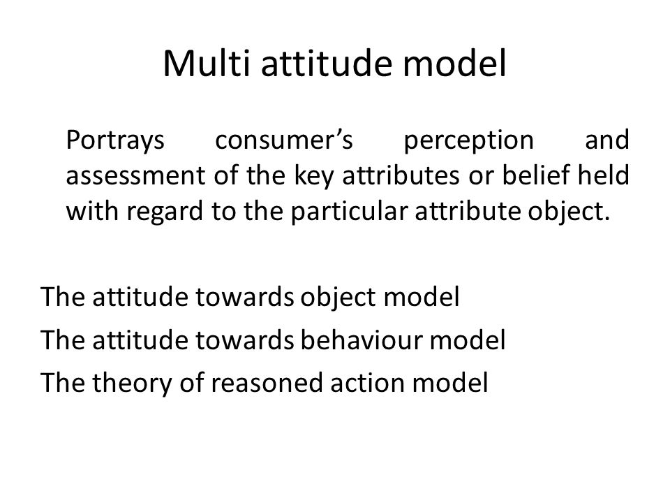 Multi attitude model Portrays consumers perception and assessment of the key attributes or belief held with regard to the particular attribute object.