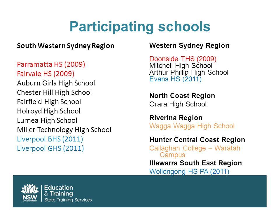 Participating schools South Western Sydney Region Parramatta HS (2009) Fairvale HS (2009) Auburn Girls High School Chester Hill High School Fairfield