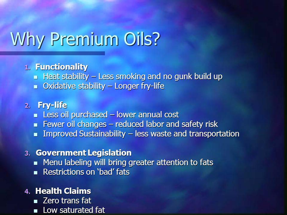 Why Premium Oils. 1.