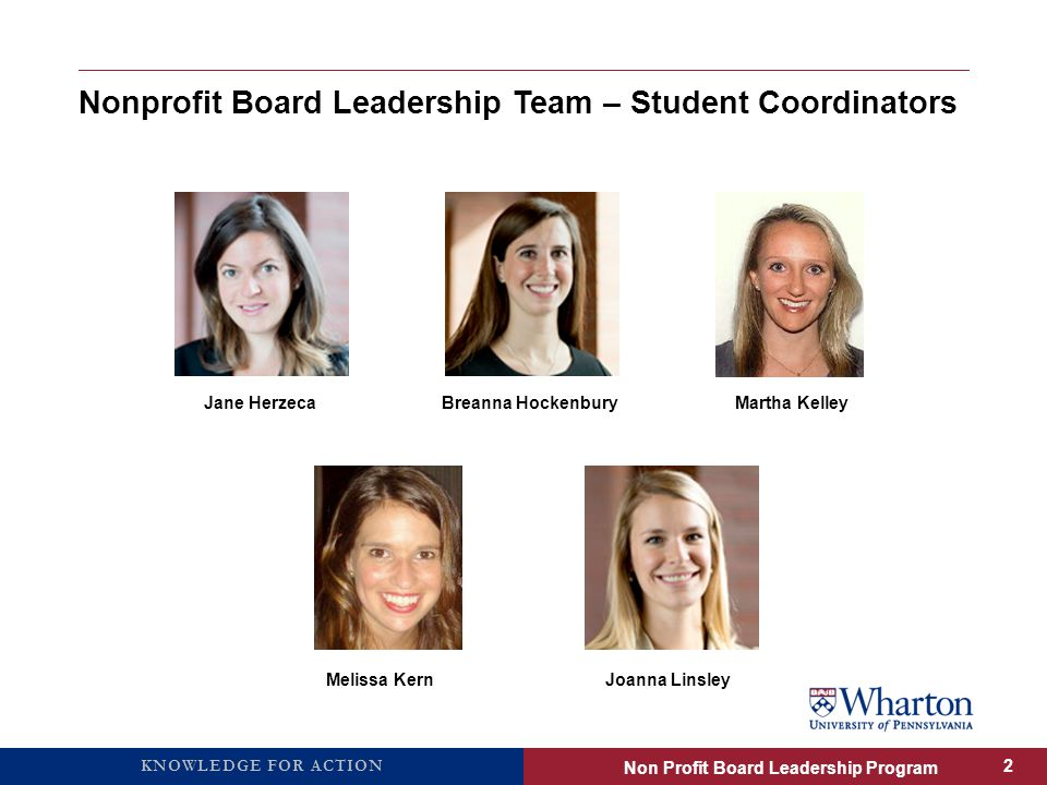 KNOWLEDGE FOR ACTION Nonprofit Board Leadership Team – Student Coordinators Jane HerzecaBreanna HockenburyMartha Kelley Melissa KernJoanna Linsley Non Profit Board Leadership Program 2