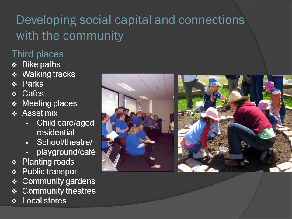 Developing social capital and connections with the community Third places Bike paths Walking tracks Parks Cafes Meeting places Asset mix Child care/aged residential School/theatre/ playground/café Planting roads Public transport Community gardens Community theatres Local stores