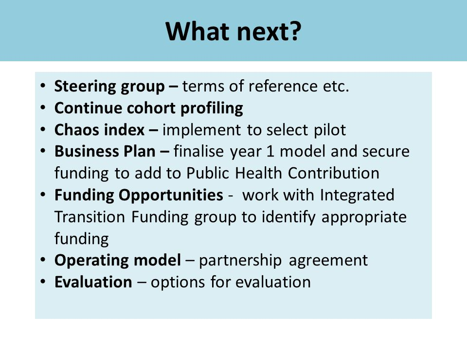 What next.Steering group – terms of reference etc.
