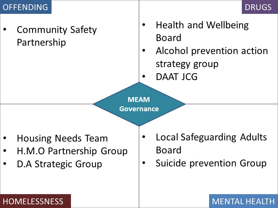 Community Safety Partnership Health and Wellbeing Board Alcohol prevention action strategy group DAAT JCG Housing Needs Team H.M.O Partnership Group D.A Strategic Group Local Safeguarding Adults Board Suicide prevention Group MEAM Governance DRUGSOFFENDING HOMELESSNESSMENTAL HEALTH