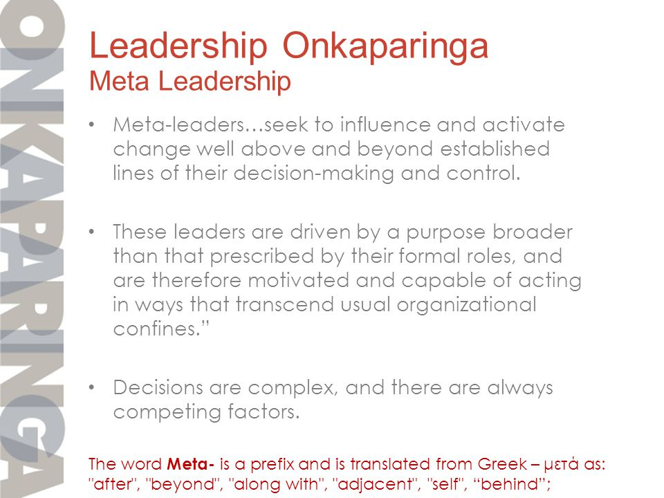 Meta-leaders…seek to influence and activate change well above and beyond established lines of their decision-making and control.