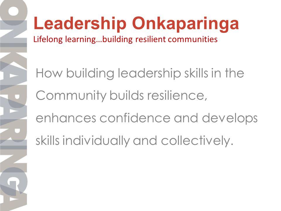 Leadership Onkaparinga Program Design : Community Capacity Builders 7 perspectives HealthEducation Welfare reform BusinessSustainability Decision making Collaborative planning