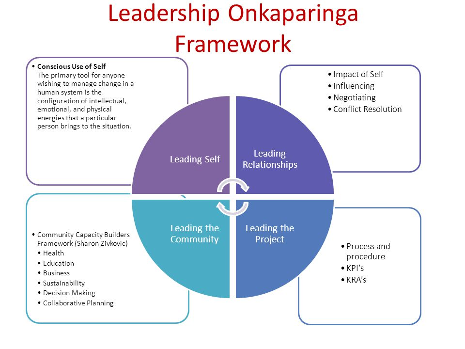 Leadership Onkaparinga Framework Process and procedure KPIs KRAs Community Capacity Builders Framework (Sharon Zivkovic) Health Education Business Sustainability Decision Making Collaborative Planning Impact of Self Influencing Negotiating Conflict Resolution Conscious Use of Self The primary tool for anyone wishing to manage change in a human system is the configuration of intellectual, emotional, and physical energies that a particular person brings to the situation.