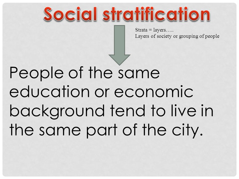 Strata = layers….. Layers of society or grouping of people People of the same education or economic background tend to live in the same part of the ci