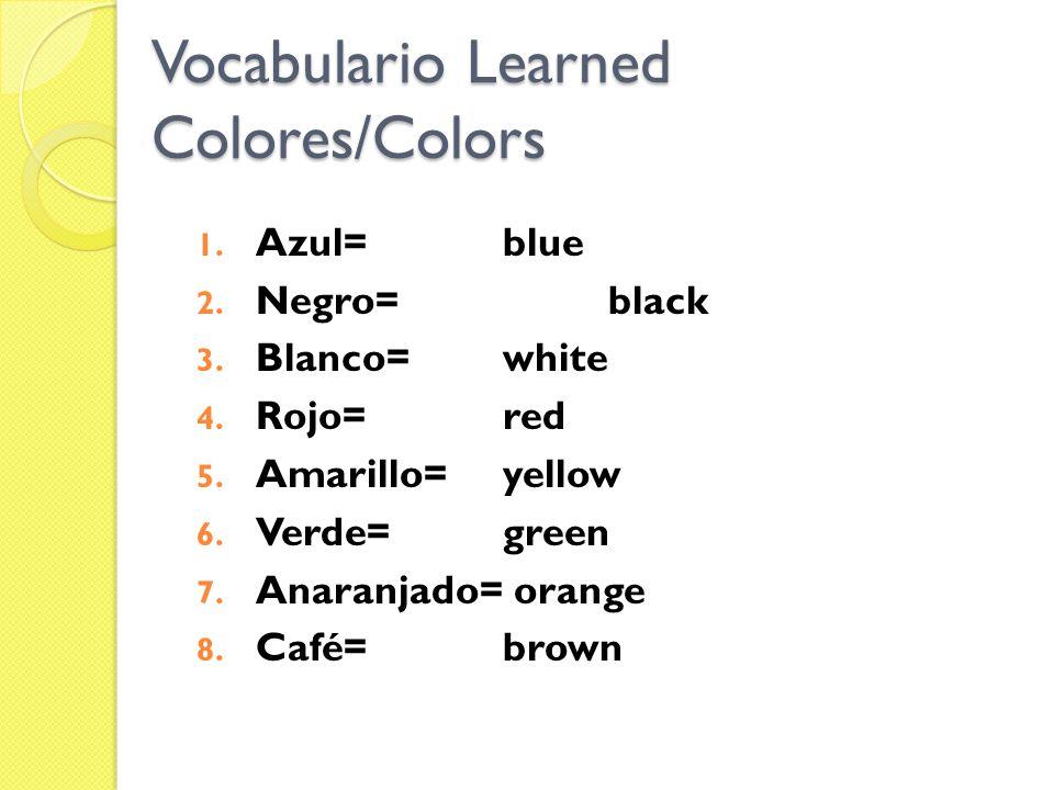 1. Azul=blue 2. Negro=black 3. Blanco=white 4. Rojo=red 5. Amarillo=yellow 6. Verde=green 7. Anaranjado= orange 8. Café=brown Vocabulario Learned Colo