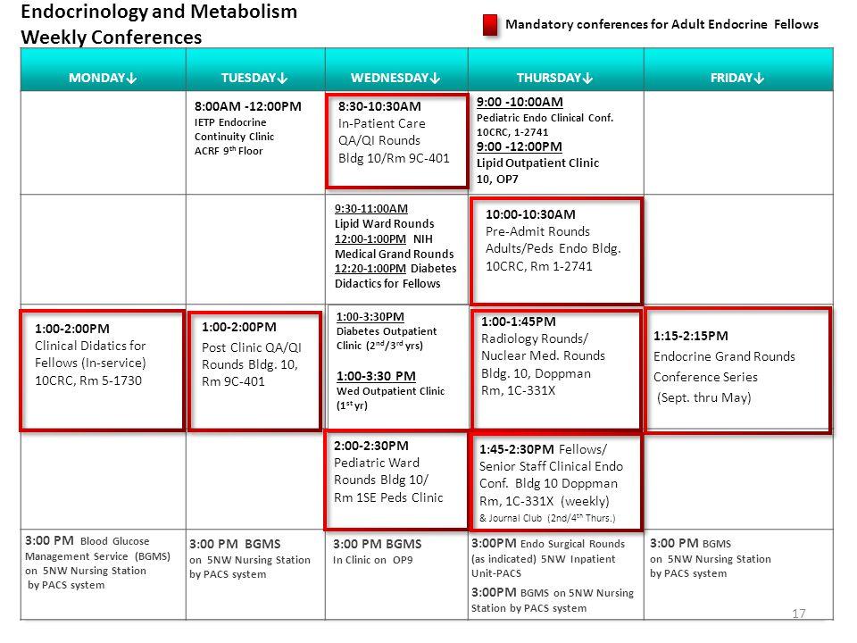 MONDAYTUESDAYWEDNESDAYTHURSDAYFRIDAY Endocrinology and Metabolism Weekly Conferences 1:00-2:00PM Post Clinic QA/QI Rounds Bldg.