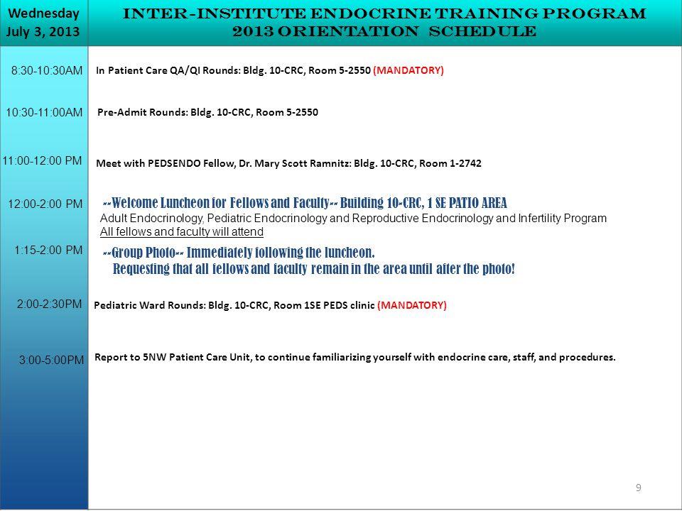 Inter-institute Endocrine Training Program 2013 Orientation Schedule 12:00-2:00 PM 2:00-2:30PM 8:30-10:30AM In Patient Care QA/QI Rounds: Bldg.