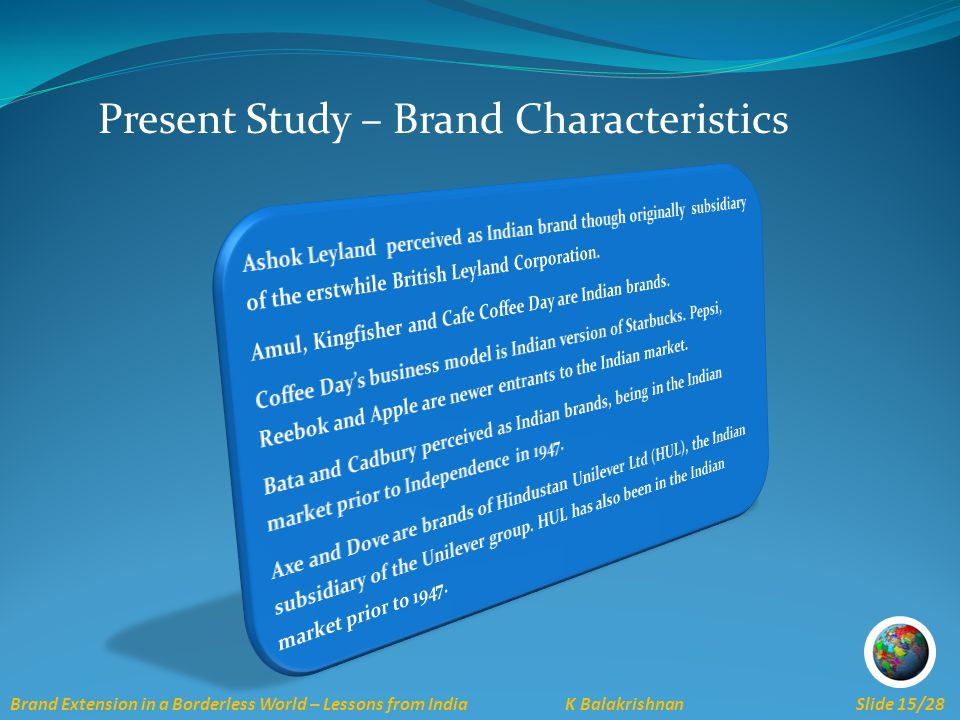 Brand Extension in a Borderless World – Lessons from India K Balakrishnan Slide 15/28 Present Study – Brand Characteristics