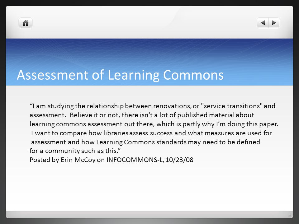 How do we conceptualize success for learning commons.