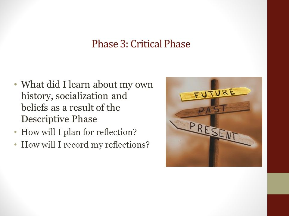 Phase 3: Critical Phase What did I learn about my own history, socialization and beliefs as a result of the Descriptive Phase How will I plan for reflection.