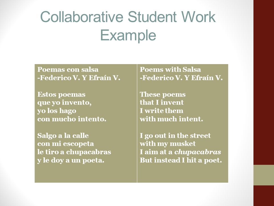 Collaborative Student Work Example Poemas con salsa -Federico V.