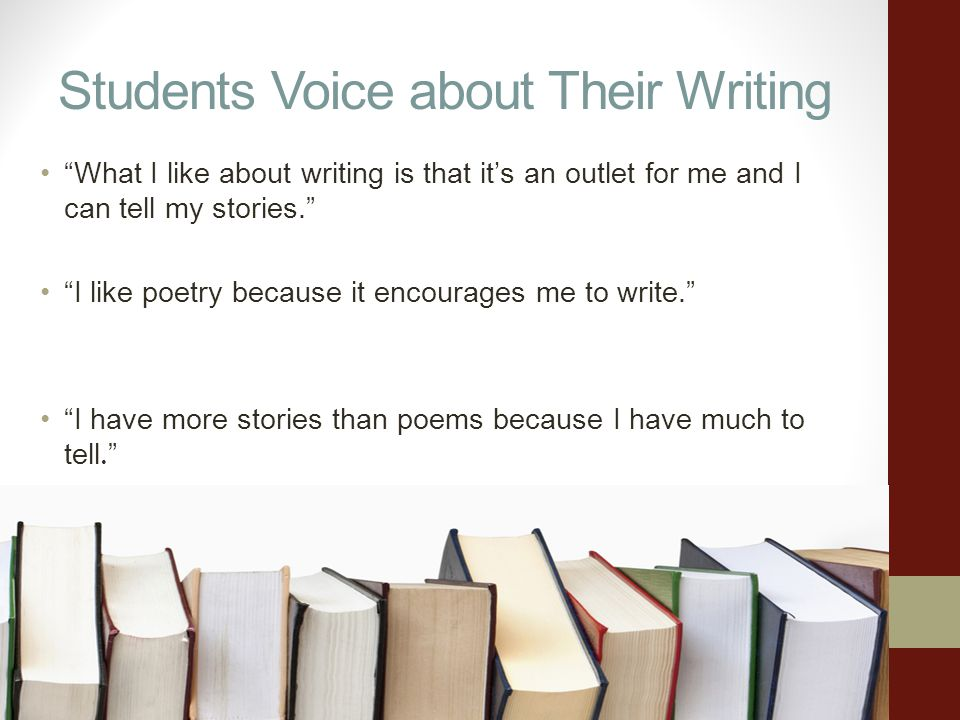 Students Voice about Their Writing What I like about writing is that its an outlet for me and I can tell my stories. I like poetry because it encourag