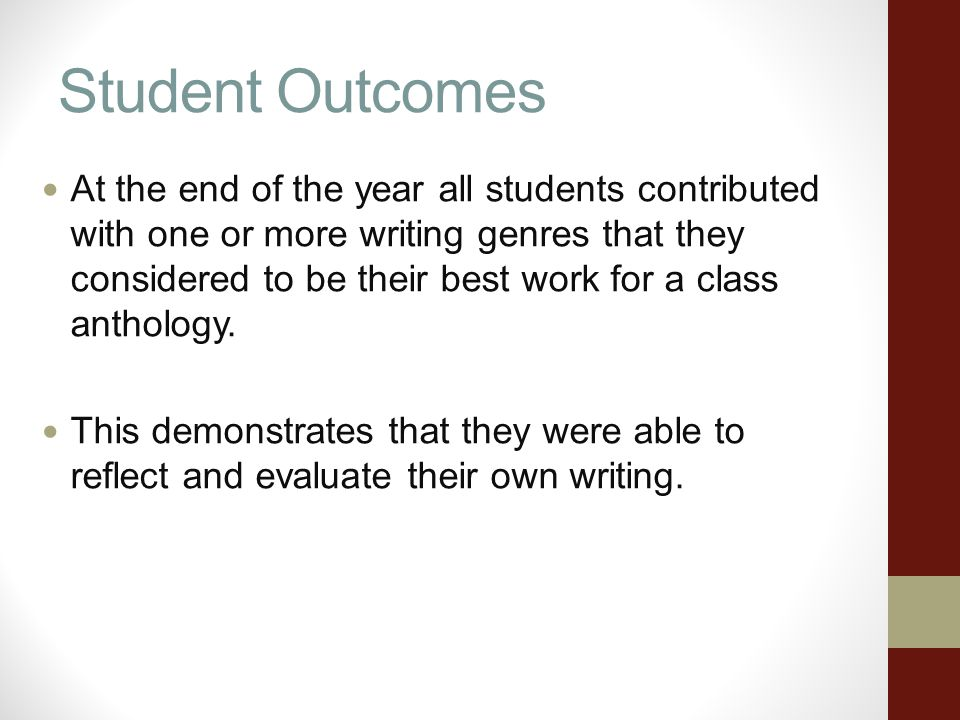 Student Outcomes At the end of the year all students contributed with one or more writing genres that they considered to be their best work for a class anthology.