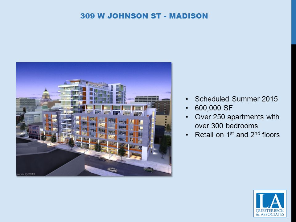 309 W JOHNSON ST - MADISON Scheduled Summer 2015 600,000 SF Over 250 apartments with over 300 bedrooms Retail on 1 st and 2 nd floors