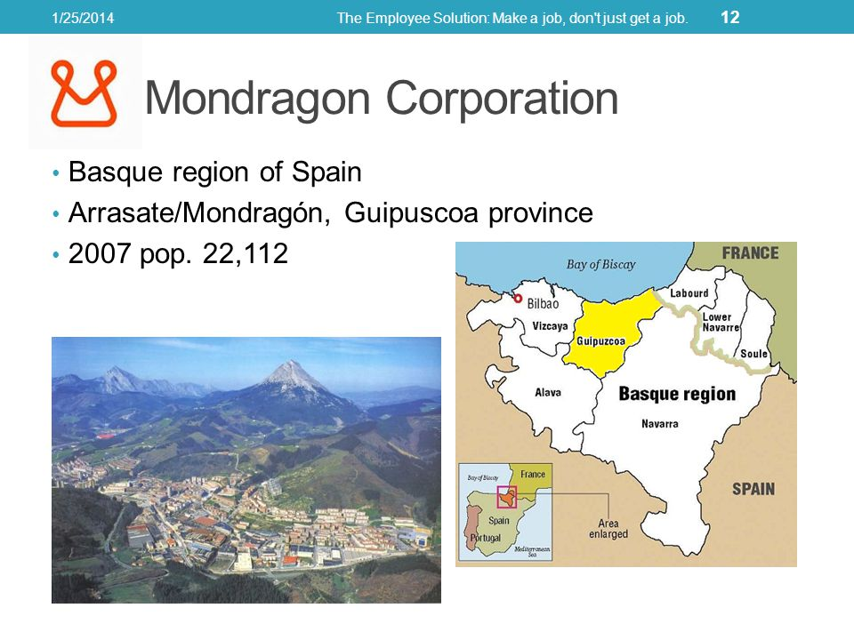 Basque region of Spain Arrasate/Mondragón, Guipuscoa province 2007 pop. 22,112 1/25/2014The Employee Solution: Make a job, don't just get a job. 12 Mo