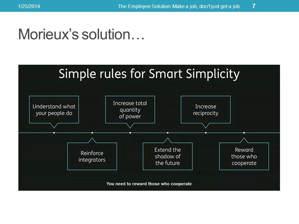 Morieuxs solution… 1/25/2014The Employee Solution: Make a job, don't just get a job. 7